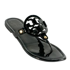 Black Glossy Tory Burch Sandal